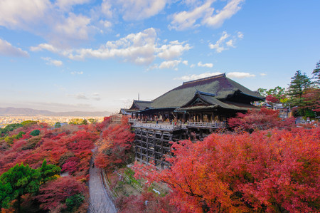 koyo: Kiyomizu-dera stage with fall colored leaves in Kyoto, Japan Editorial