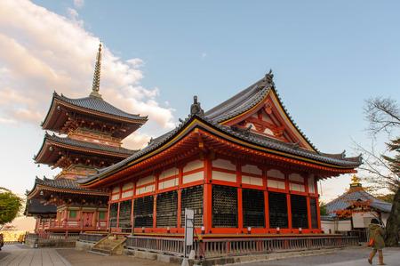 koyo: Kiyomizu-dera Temple Gate in Kyoto in the morning