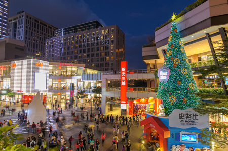 huge christmas tree: A huge Christmas Tree in front of the shopping mall in xinyi district for the holiday