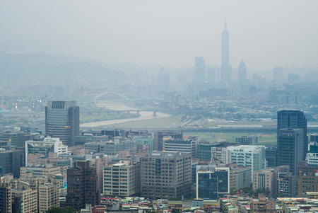 brings: skyline of taipei city. Cold air front from China brings air pollution during the winter Editorial
