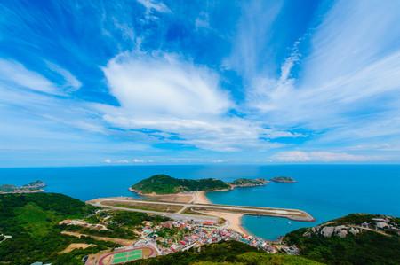 美しい空の下で松島の航空写真 写真素材
