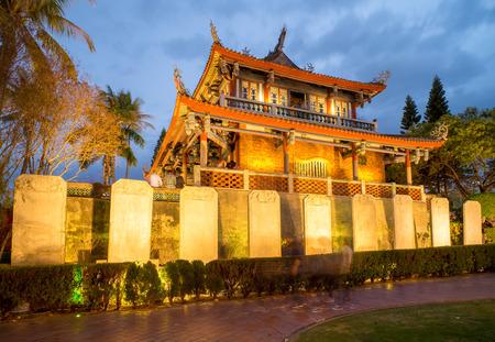 台湾・台南で赤崁楼の夜景 報道画像