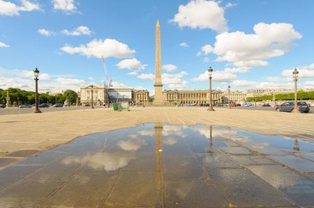 concorde: Luxor obelisk in Place de la Concorde in Paris Stock Photo