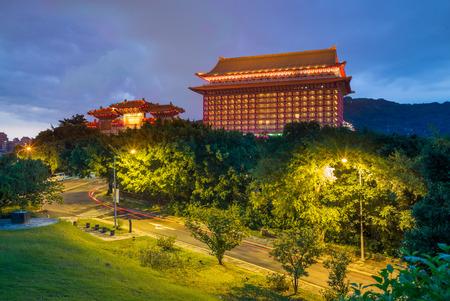 taiwan: night view of grand hotel in taipei, taiwan