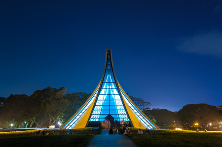 evening church: Luce Memorial Chapel on the campus of Tunghai University in Taichung, Taiwan.