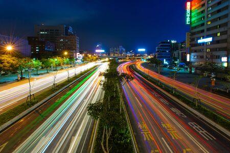 city traffic: Traffic trails in Taipei city Stock Photo