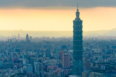 aerial view of Taipei city by the sunset with misty fog