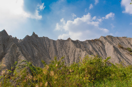 badland: a mountain with no trees on it in Kaohsiung, Taiwan
