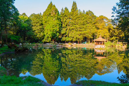 landscape with lake and pavilion in alishan