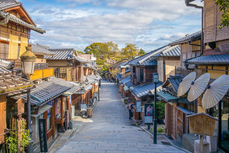 Straatzicht van Kyoto stad Stockfoto