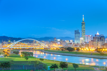skyline of taipei city at night
