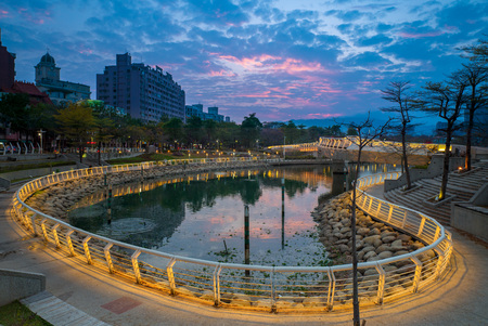 love park: heart of Love River in Kaohsiung City at night