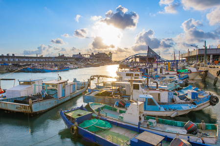 yongan fishing port at Taoyuan by the sunset
