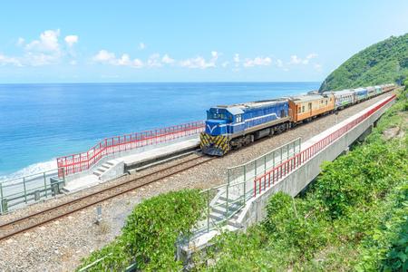 Train approaching the Duoliang Station in Taitung, Taiwan