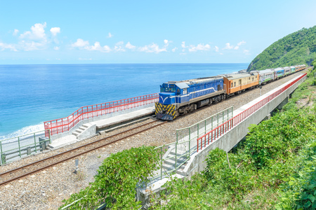 Train approaching the Duoliang Station in Taitung, Taiwan