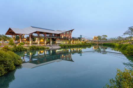 love park: night view of jhongdu wetland park in kaohsiung Stock Photo