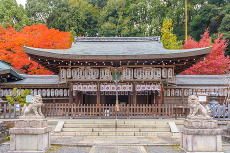 Facade view of Kumano Nyakuoji Shrine. It is one of three Kumano shrines in Kyoto and located in the South end of Path of Philosophy