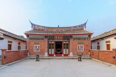 hakka family temple with chinese auspicious words on the door