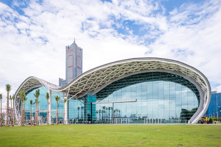 Kaohsiung Exhibition Center (KEC) and Tuntex Sky Tower, the tallest building in Kaohsiung.