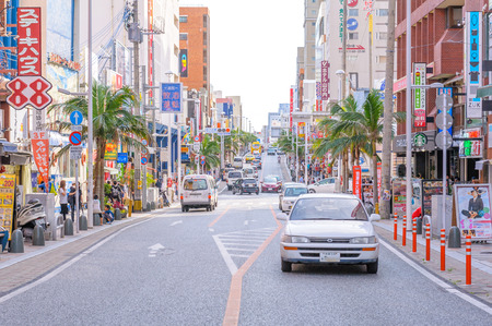 dori: street view of kokusaidori street in naha city. It is Nahas main street, stretching for roughly two kilometers through downtown Naha