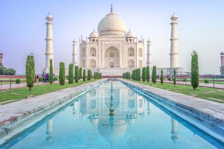 mughal empire: Facade view of Taj Mahal in Agra, India