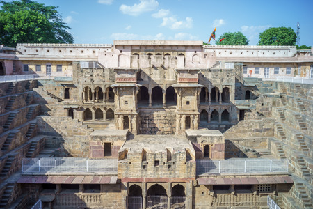 stair well: Chand Baori, a stepwell situated in the village of Abhaneri near Jaipur, India