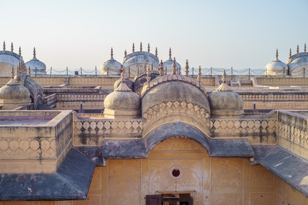 mughal empire: view from the roof of Nahargarh Fort in Jaipur, India Editorial