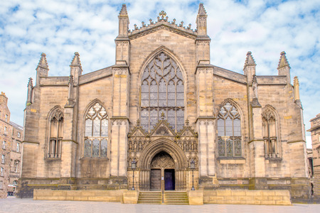 Facade view of St Giles Cathedral in Edinburgh, Scotland