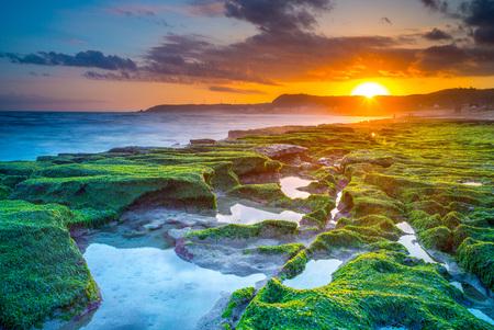 sunset at laomei green reef, northern coast in taipei 写真素材