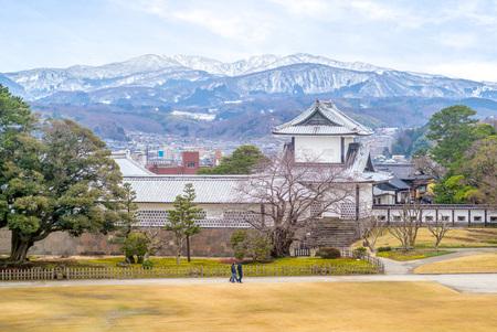 view of kanazawa castle with mountain utatsu Stock Photo