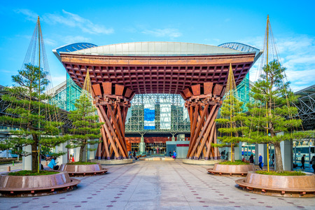 The Tsuzumi drum Gate at JR Kanazawa Station East entrance Reklamní fotografie