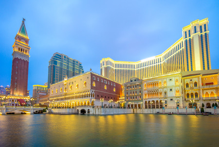 night view of a luxury hotel and casino resort in Macau