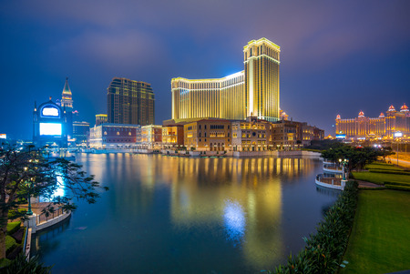 night view of a luxury hotel and casino resort in Macau
