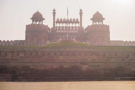 Delhi red fort in the morning mist