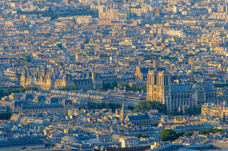 aerial view of paris by the sunset