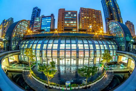 night view of daan park station (via fisheye lens)