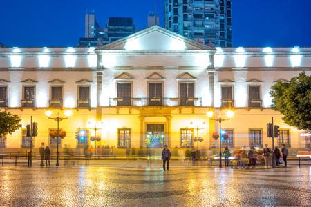 Night view of Leal Senado Building in Macau