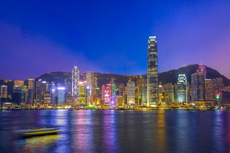 night view of victoria harbor, hongkong