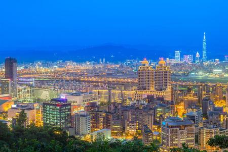 aerial view of taipei city at night 写真素材