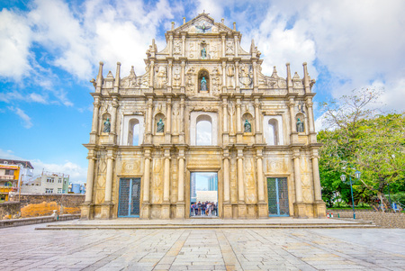 Ruins of St. Paul's in Macau, China 版權商用圖片