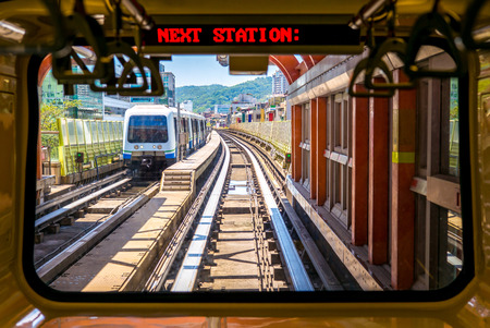View from the window of taipei metro