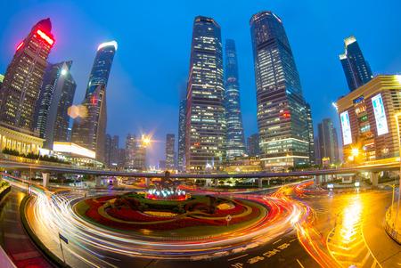 riverbank: Night view of shanghai Stock Photo