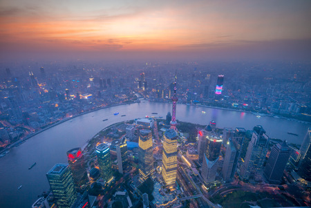 Aerial view of shanghai by the sunset