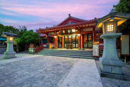 Night view of Naminoue Shrine in okinawa, japan. The chinese words on the three sign boards mean