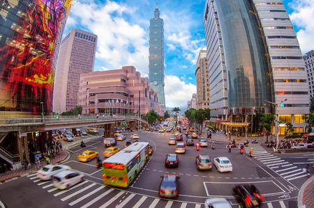 Street view of taipei city