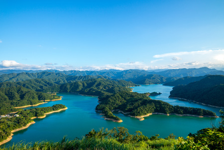 Landscape of thousand Island Lake in shiding, new taipei city, taiwan 스톡 콘텐츠