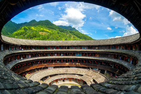 Aerial view of fujian tulou (hakka roundhouse) via fisheye lens