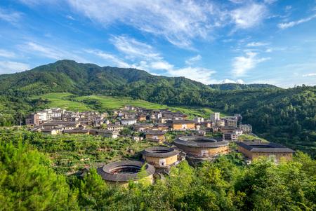 中国福建省の土楼 Chuxi クラスターの航空写真