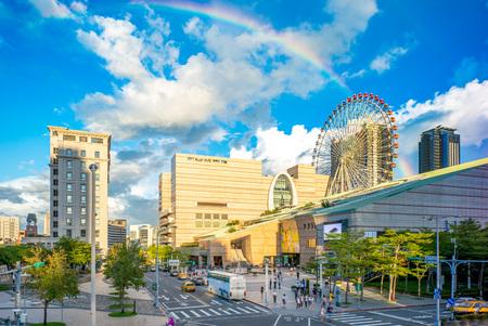 Landscape of taipei city with rainbow