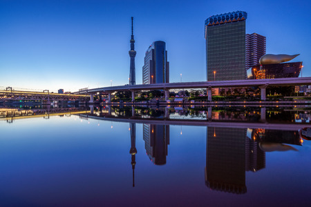 riverbank: skyline of tokyo city by the river at dawn